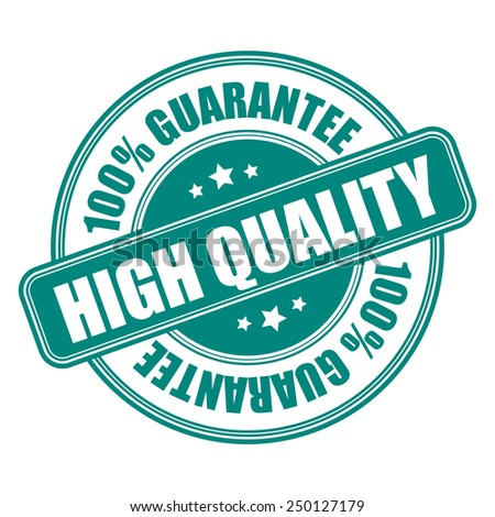 green 100% high quality guarantee icon, tag, label, badge, sign, sticker isolated on white  - stock photo