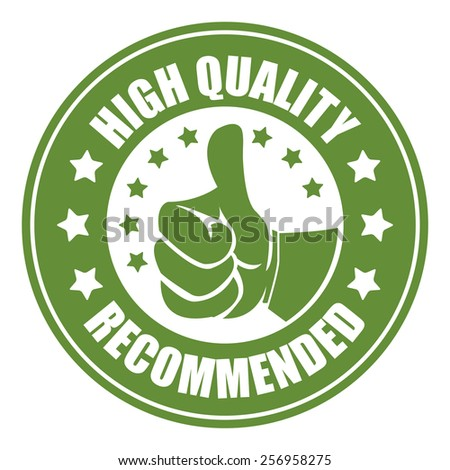 green high quality recommended sticker, badge, icon, stamp, label, banner, sign isolated on white - stock photo