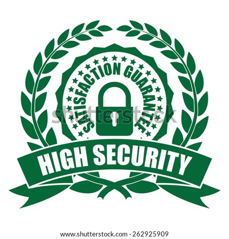 Green High Security Satisfaction Guarantee Wheat Laurel Wreath, Ribbon, Badge, Label, Sticker, Sign or Icon Isolated on White Background - stock photo