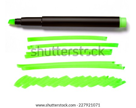 Green Highlighter Pen and Doodles Isolated on White Background with Real Shadow and Text Space - stock photo
