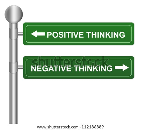 Green Highway Street Sign Pointing to Positive Thinking and Negative Thinking For Selection Concept  Isolated on White Background - stock photo