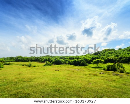 Green hill and blue sky. - stock photo