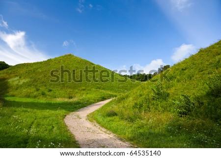 green hill, summer - stock photo
