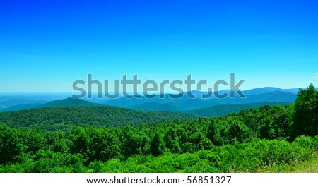 green hills in a summer day in west virginia - stock photo