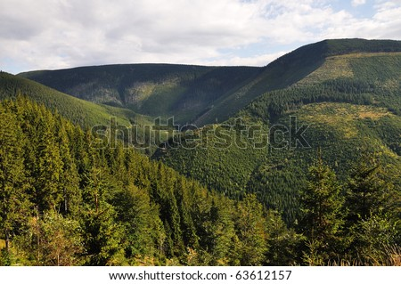 Green Hills in the national park Krkonose in the Czech Republic - stock photo