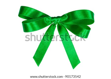 Green holiday bow on white with clipping path. - stock photo