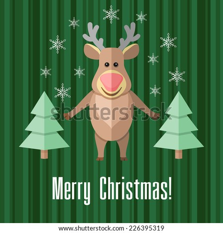 Green holiday Christmas card with reindeer and fir trees - stock photo