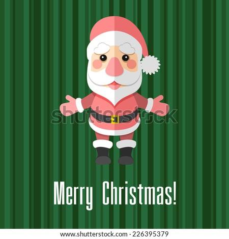 Green holiday Christmas card with Santa Claus - stock photo