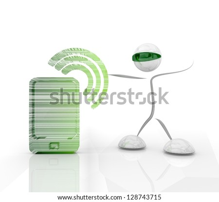 green hologram with modern w-lan smart phone symbol and 3d character - stock photo