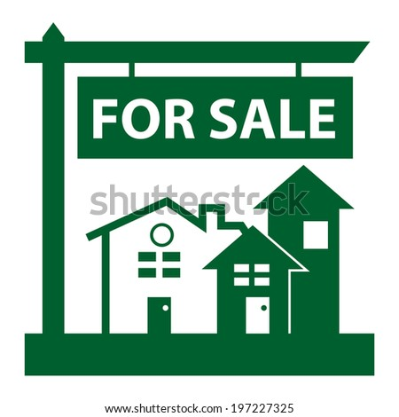 Green Home, Apartment, Building, Condominium or Real Estate For Sale Sign Icon, Sticker or Label Isolated on White Background  - stock photo