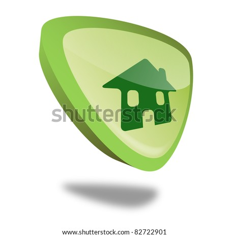 green home button with perspective - stock photo