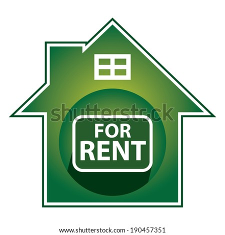 Green Home For Rent Sign, Icon, Sticker or Label Isolated on White Background - stock photo