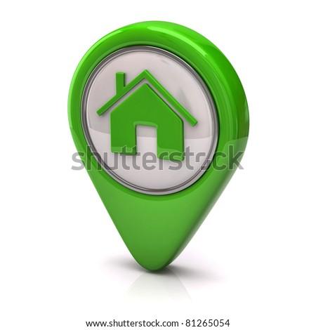 Green home icon - stock photo