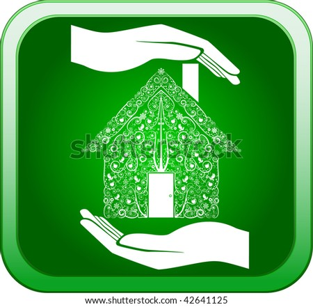 Green home in open hands - stock photo