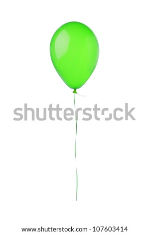 Green hot air flying balloon isolated on white background