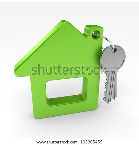green house and key, on a white background, 3d render - stock photo