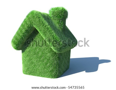 Green house covered with grass isolated on white - stock photo
