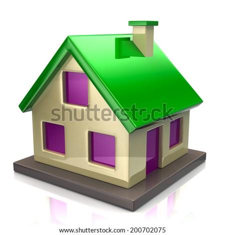 Green house icon - stock photo