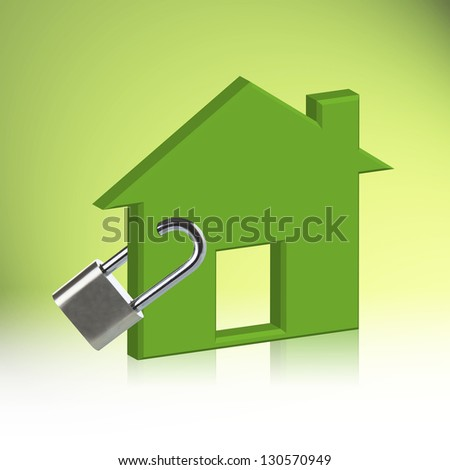 Green house Locked, The concept Home Security - stock photo