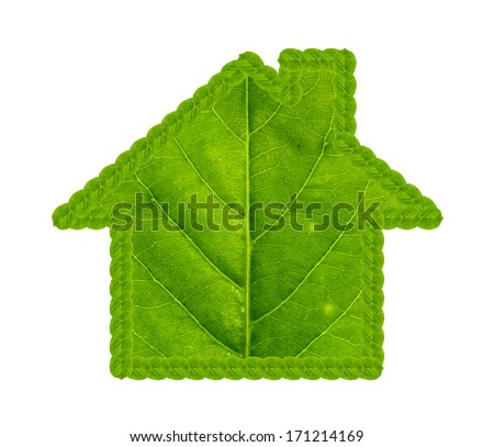 Green house made of green leaf isolated on white background - stock photo