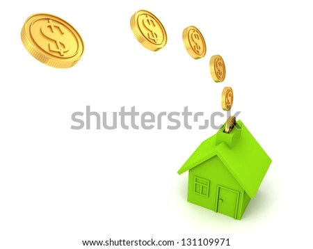 green house money bank with golden dollar coins flow - stock photo