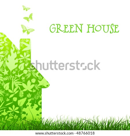 green house nature ecology architecture on white background - stock photo
