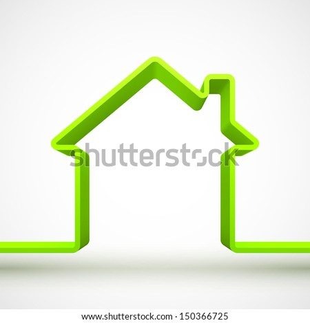 Green house outline 3D. - stock photo