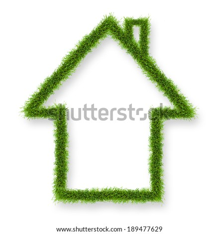 Green house outline shape. Concept of energy savings. Isolated on white background - stock photo
