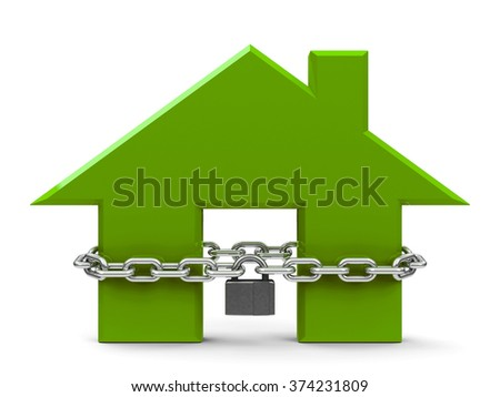Green house sign with chain and lock isolated on white background, security house concept, three-dimensional rendering - stock photo