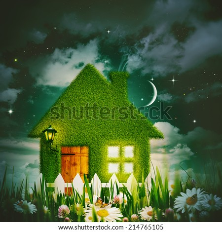 Green house under the starry night skies, environmental backgrounds - stock photo