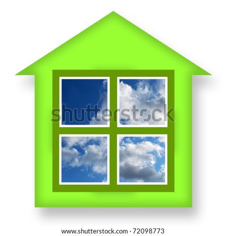 Green house with blue sky in windows - stock photo