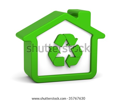 Green house with recycle sign in a white background - stock photo