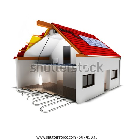 green house with solar panels - stock photo