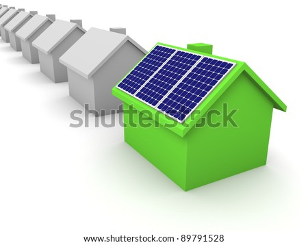 Green house with solar panels