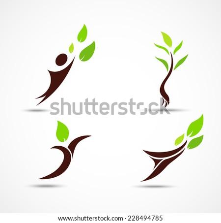 Green human ecology icons - stock photo