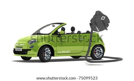 green hybrid car on white background - stock photo