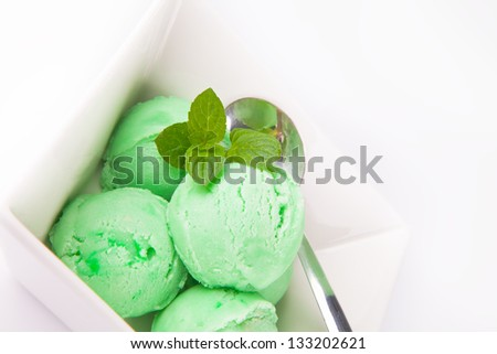 green ice cream in a bowl - stock photo