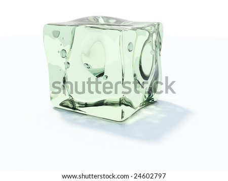 Green ice cube isolated on white - stock photo