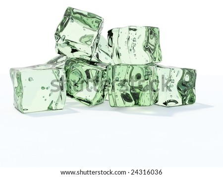 Green ice cubes isolated on white - stock photo