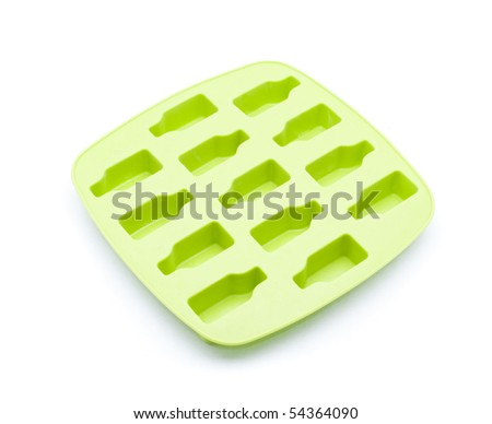 Green ice tray isolated on white background