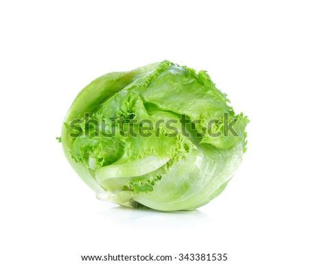 Green Iceberg lettuce on White Background. - stock photo