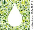 Green icon set in water drop shape background. - stock photo
