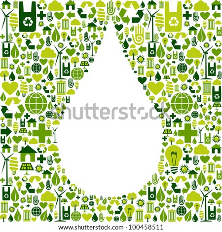 Green icon set in water drop shape background.