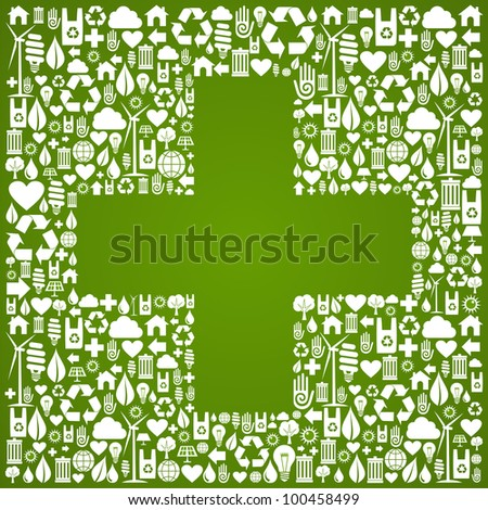 Green icons set with cross background. - stock photo