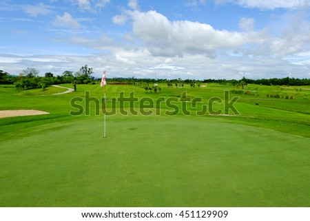 green  in golf course landscape