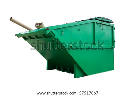 Green Industrial Waste Bin Isolated Over White - stock photo