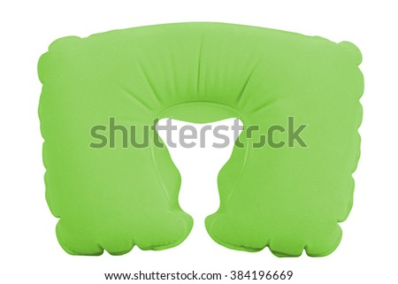Green inflatable neck pillow on a white background