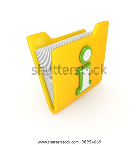 Green Info symbol on a yellow folder.Isolated on white background.3d rendered. - stock photo