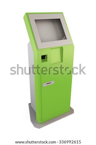 Green information kiosk. Information terminal for receiving banknotes. 3d illustration. - stock photo