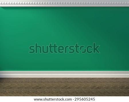green interior. 3d iilustration - stock photo